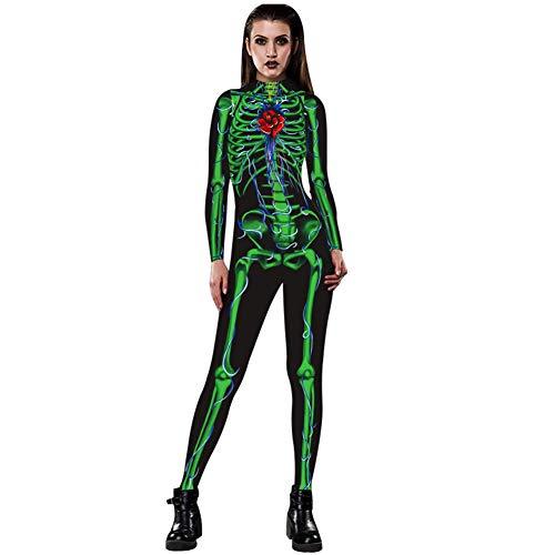SeqSh Damen Skeleton Halloween Cosplay Kostüm Body Mit Rückendruck - Skeleton Jumpsuit Performance Wear,Grün,M