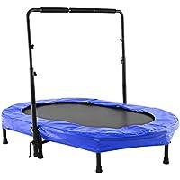 Ncient Fitness Trampolin mit Höhenverstellbarer Haltegriff Indoor / Outdoor Twin Trampolin für 2 Kinder- oder Eltern-Kind-Aktivitäten, 143 x 91 CM