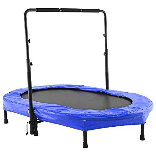 Tomasa Fitness Sport Trampolin 143 x 91cm Jumping Trampolin draußen gartentrampolin mit verstellbarem Lenker 98-115cm (Blau-2) -