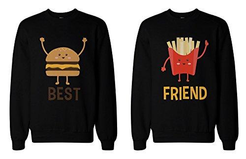 """2 sudaderas 365 Printin, con forro polar, a juego con la inscripción en inglés """"Best Friend"""", diseño de hamburguesa y patatas fritas Negro negro Izquierda-XXL/Derecho-S"""