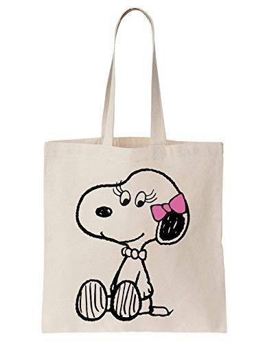 PasTomka Belle Snoopy Charlie Brown Pink Schultertasche Tote Bag (Charlie Belle)