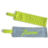 Marque-page personnalisé tissu vert anis et jean bleu clair, marque-page prénom, marque-page mixte, Cadeaux personnalisés, Cadeaux fête des mères