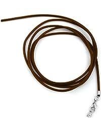 Unbespielt Lederband Braun 1m x 2 mm Lang Kürzbar Rund Kette Collier Damen Herren Kinder Verschluss Silberfarben