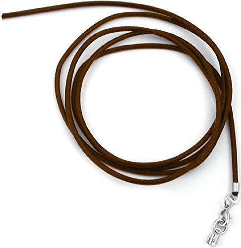 Unbespielt Lederband Braun 1m x 2 mm Kürzbar Rund Kette Collier Damen Herren Kinder Verschluss Silberfarben (Körper-schmuck-zange)