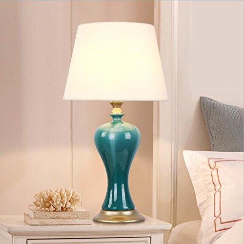 Tischlampe Büro Lampe Arbeit Lampe Keramik Tischlampe Zwei Schalter Optional Tischlampe Prozess: Stoff + Keramik + Überzug 220v Wohnzimmer Schlafzimmer Nachttisch Vase Keramik Tischlampe ( Farbe : Power switch button )