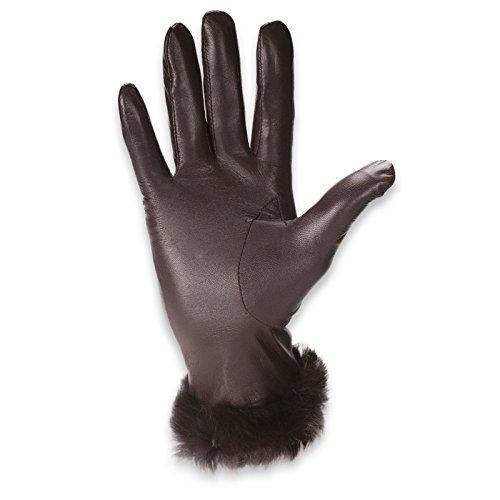 Quivano - Gants Black Label pour femme - cuir/doublure en laine - poignet en fausse fourrure - # 334-200 Marron