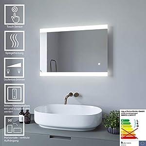 AQUABATOS® Badspiegel Lichtspiegel LED Spiegel Wandspiegel Dimmbar mit Sensor-Schalter 70 x 50cm kaltweiß IP44 energiesparend