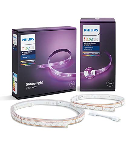 Philips Hue White and Color Ambiance - Pack de Lightstrip Plus, tira luz LED 2 metros con enchufe y extensión de 1 metro, Compatible con Amazon Alexa, Apple HomeKit y Google Assistant