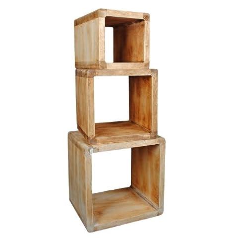 Table Bois Massif - Lot de 3 Cube Design Table de