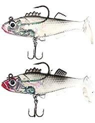 Lixada 2Pcs 8cm 15g Leurre de Pêche Transparent de T Tail Lead Bait Souple avec un Hameçon Triple un Crochet Simple