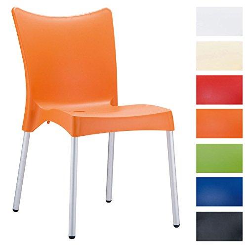 CLP XXL-Gartenstuhl Juliette I Stapelstuhl mit Kunststoffsitz und Aluminiumgestell I Outdoor-Stuhl bis zu 160 kg belastbar I erhältlich Orange - Stapelbarer Outdoor-stuhl