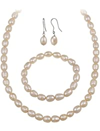 Sterling Silver Freshwater Cultured Pink Pearl Necklace, Bracelet Earring Jewelry Set