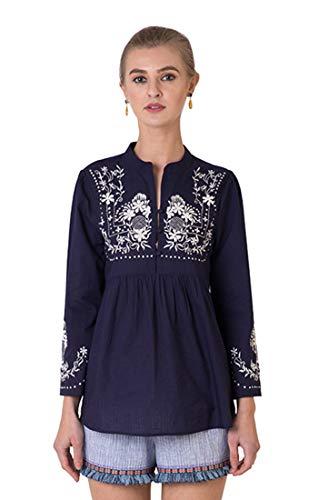 Indigo Paisley Daisy Damen Bluse aus 100% Baumwolle mit kunstvoller Stickerei - Blau - X-Groß -