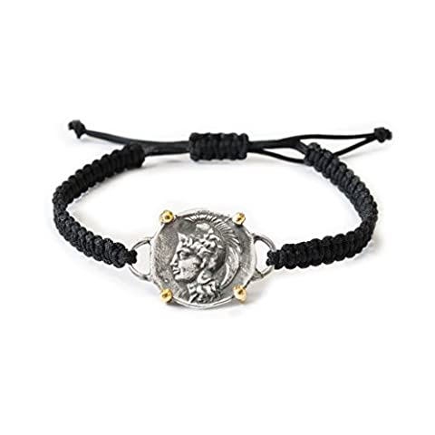 Joyasantiguas - Armband Makramee Silber Greek Münzen Vergoldet/Oxid Göttin Athene