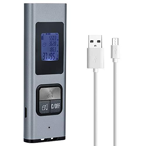KKmoon Telemetro Portatile Mini Laser Portatile Telemetro Ricaricabile USB Telemetro Penna Digitale ad Alta Precisione con Custodia in Metallo con Intervallo di Misurazione di 0,03-40m