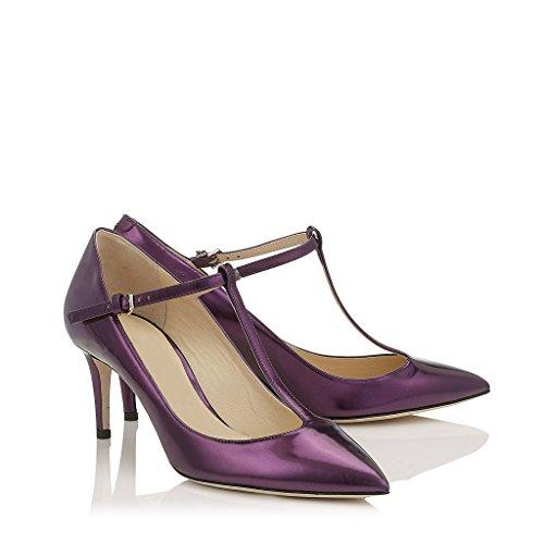 EDEFS Damen Kitten Heel Pumps Elegante T-Spangen Schuhe Bequeme Büro Kleid Pumpen Violett
