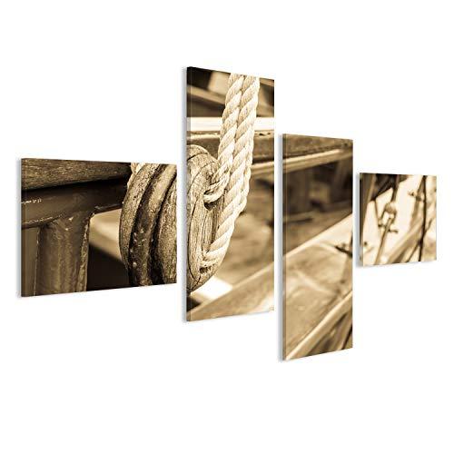 bilderfelix® Alte hölzerne Riemenscheibe an einem Boot Wandbild Leinwandbild Poster DZZ
