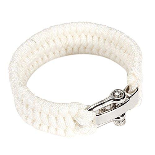 Dcolor 7 Corde 550 Bracelet PARACORDE Parachute Tressage Reglable Boucle Acier Survie blanc