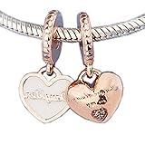 COOLTASTE 2018 Mutter Geschenk Mutter & Tochter Herzen Dangle Rose Bead 925 Silber DIY passt für Original Pandora Armbänder Charm Modeschmuck