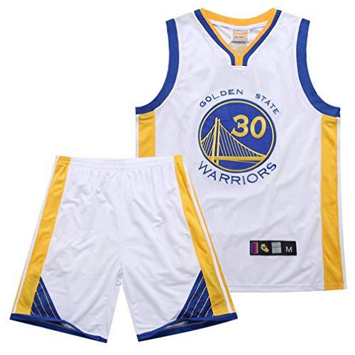 AFDLT NBA Warriors Curry 30. Jersey-Stickerei-Anzug,White,S