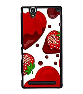 Strawberry Heart 2D Hard Polycarbonate Designer Back Case Cover for Sony Xperia T2 Ultra :: Sony Xperia T2 Ultra Dual SIM D5322 :: Sony Xperia T2 Ultra XM50h