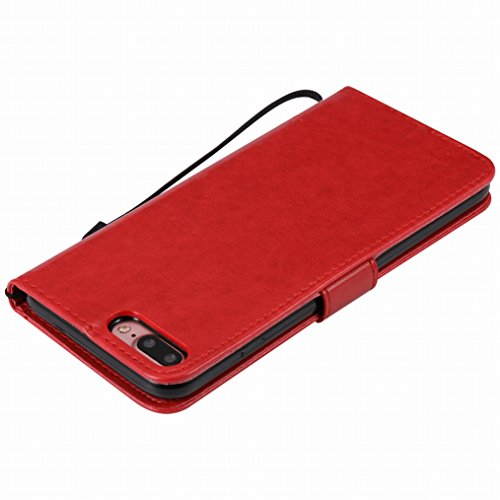 LEMORRY Apple iPhone 7 Plus Custodia Sbalzato Pelle Cuoio Flip Portafoglio Borsa Sottile Fit Bumper Protettivo Magnetico Chiusura Standing Card Slot Morbido Silicone TPU Case Cover Custodia per Apple  estrema Red