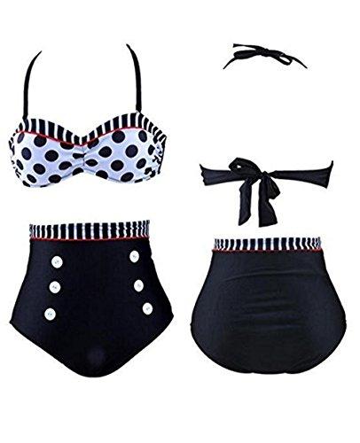 Scallop Mujer Traje de Baño Bikini Braga Alta Clásica 2 Piezas Vintage Bañador Halter