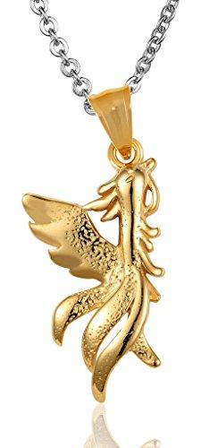 Le collane del pendente delle donne in acciaio inox inciso Phoenix Simbolo del genere maschile catena a maglia d'oro di AieniD
