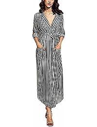 a33597b495f OVERDOSE Damen Elegant Streifen Belted Deep V Neck Langarm Top Bluse Langes  Kleid Maxi Kleid Partykleid