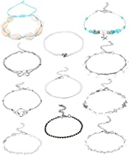 Udalyn 11 Pcs Beach Anklets Bracelets for Women Foot Jewelry Boho Beach Anklet Chain Foot Jewelry Starfish she