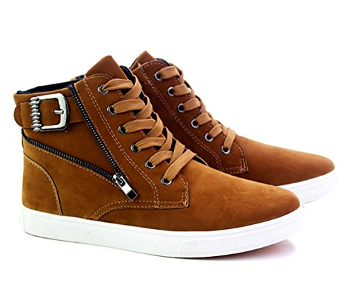 WZG Herren High-Top Schuhe Herrenmode lässig dicke Kruste Martin Stiefel kurze Stiefel Schuhe Hip-Hop Brown