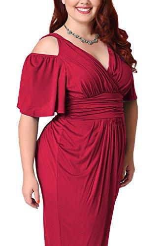 Frauen Plus Size Kalte Schulter / Hals Bleistift Party - Kleid Wine