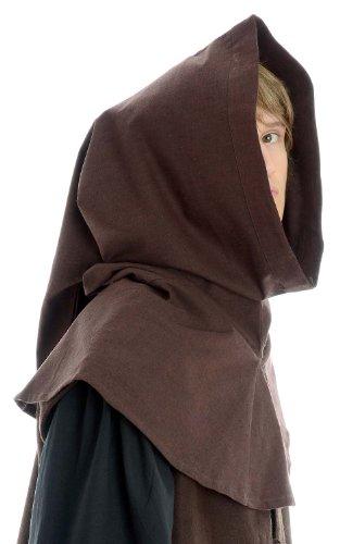 Mittelalter Gugel schwarz braun grün blau rot beige Baumwolle/Leinenstruktur Mittelalterliche Kleidung Braun