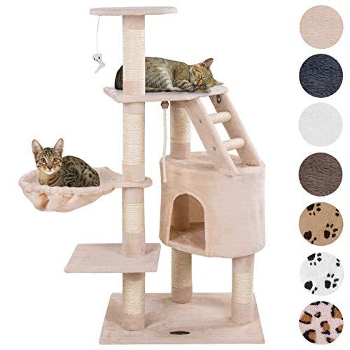 Happypet® Kratzbaum für Katzen mittelgroß 120 cmm hoch, Kletterbaum Katzenbaum, CAT017-4 stabile Säulen mit Natur-Sisal ca. 8cm Durchmesser, Liegemulde, Haus, Treppe, Aussichtsplattform, Beige