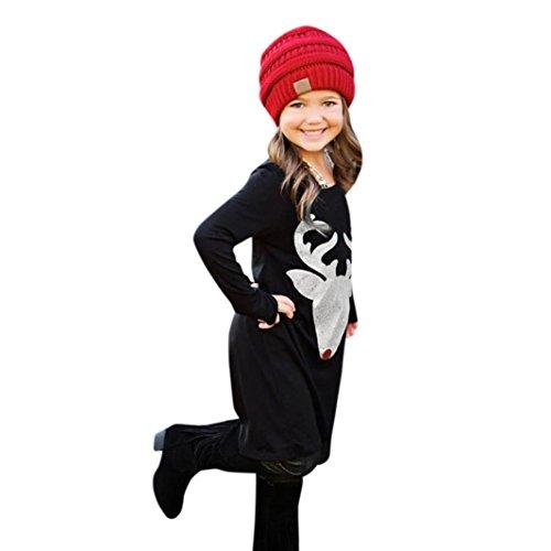 Mom-kinder Sweatshirt (Familie bekleidung FORH Mom & Baby Mädchen Damen Weihnachten Hirsch Drucken Sweatshirt miniKleid Schwarz Retro weihnachtskleid Casual Rundhals Langarm Abendkleid festliche kleider (Vintage Baby, 130))