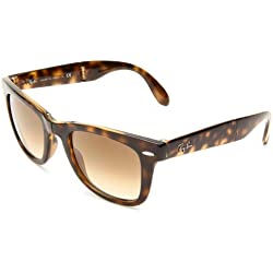 Ray-Ban RB4105 Folding Wayfarer Sunglasses 50 mm, Non-Polarized, Light Havana/Crystal Brown