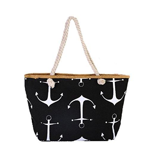 Samanthajane Clothing™ borsa a secchiello estiva per la spiaggia, in tela, da donna 13 Large Anchor Black