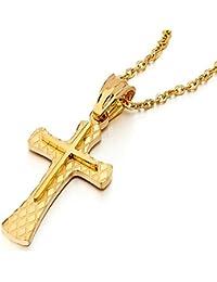 Pequeño Color Oro Collar de Cruz, Colgante Cruce de Mujer Hombre, Acero Inoxidable, Capas Dobles, Cadena 45CM