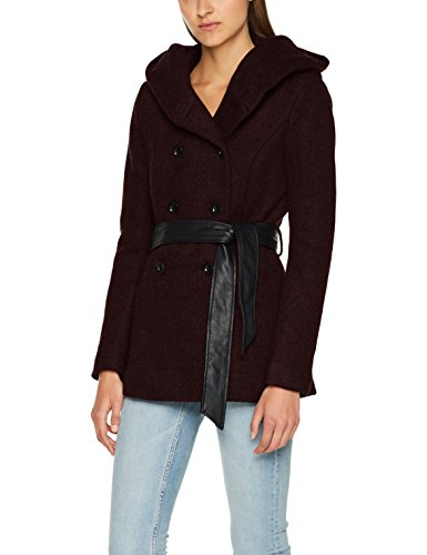 ONLY Damen Jacke Onlmary Lisa Short Wool Coat CC Otw, Rot (Port Royale Detail:Melange), 34 (Herstellergröße: XS)