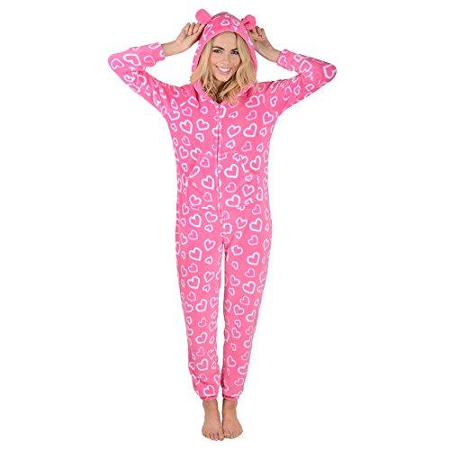 Damen Fleece Pyjama – Rosa Herzen Onesie - 3