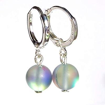 aurora flash gris moonstone argent sterling 925 plaqué boucles d'oreilles cadeau pour elle