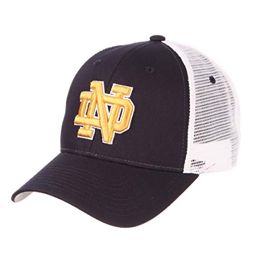 ZHATS Baseballmütze/Baseballmütze, Motiv: University of Notre Dame ND Fighting Irish Navy Blue Big Rig Mesh Trucker Größe verstellbar