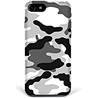 For iPhone 7 plus + iPhone 8 plus + Phone Back Case Hard Cover Custom Personalised Trendy Style Christmas Gift Present Modern Design Protective Plastic UK Brand Appfix Army colors white and black Games