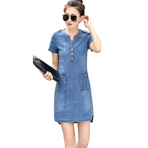 0b0c4f81 PETUNIA Summer Short Sleeves Women Denim Dress Loose V-Neck Solid Denim  Dress Bodycon -