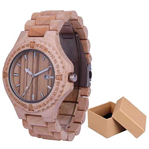 Holz Uhr FüR MäNner Mit Schwarzem Sandelholz Armband Quarzwerk Uhren Datum Design Vintage Holz Armbanduhr MäNnliche Uhr White Box