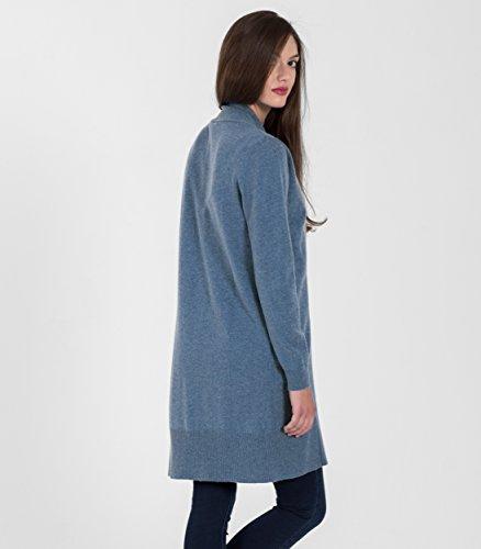 WoolOvers Gilet long ouvert - Femme - Cachemire & Mérinos Bluebell