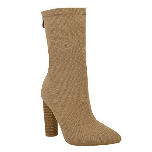 Neuves Pour Femmes TricotéÉlastique Bottine Talon Haut Massif Style Célébrité Chaussures Pointure Marron Moka Tricot / Talon Forme Poire Effet Bois