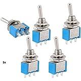 5 x 3 terminales 2 posiciones PDT on off/on Interruptor AC 250 V, 3 A, 125 V, 6 A