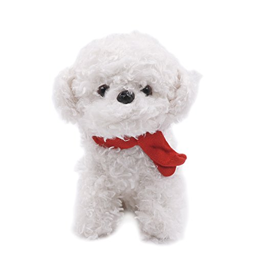 Lazy Puppy 25 CM Small Poodle Pal Dog with Scarf Puppy Plush Toys Stuffed Animal (White)