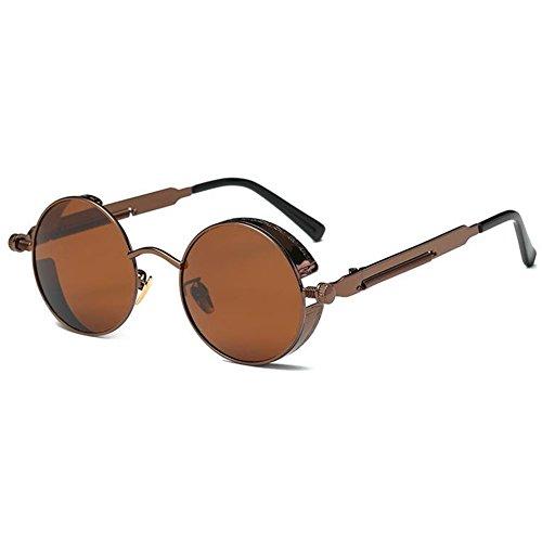 1c1e51b9c9 Deylay Steampunk Ronda Polarizada Gafas de Sol Hombre Mujer Vintage Retro  Circle Metal Frame